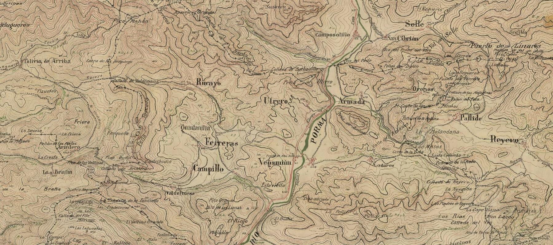Mapa embalse del Porma 1915-1960
